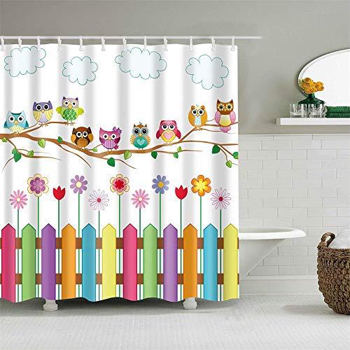yqs Duschvorhang Kinder Cartoon Dusche Vorhang Set Home Decor Eulen auf EIN Zweig Kunst Polyester Gewebe Bad Vorhang mit 12 Haken Dusche vorhänge Zufälliger Versand oder Bestellschein