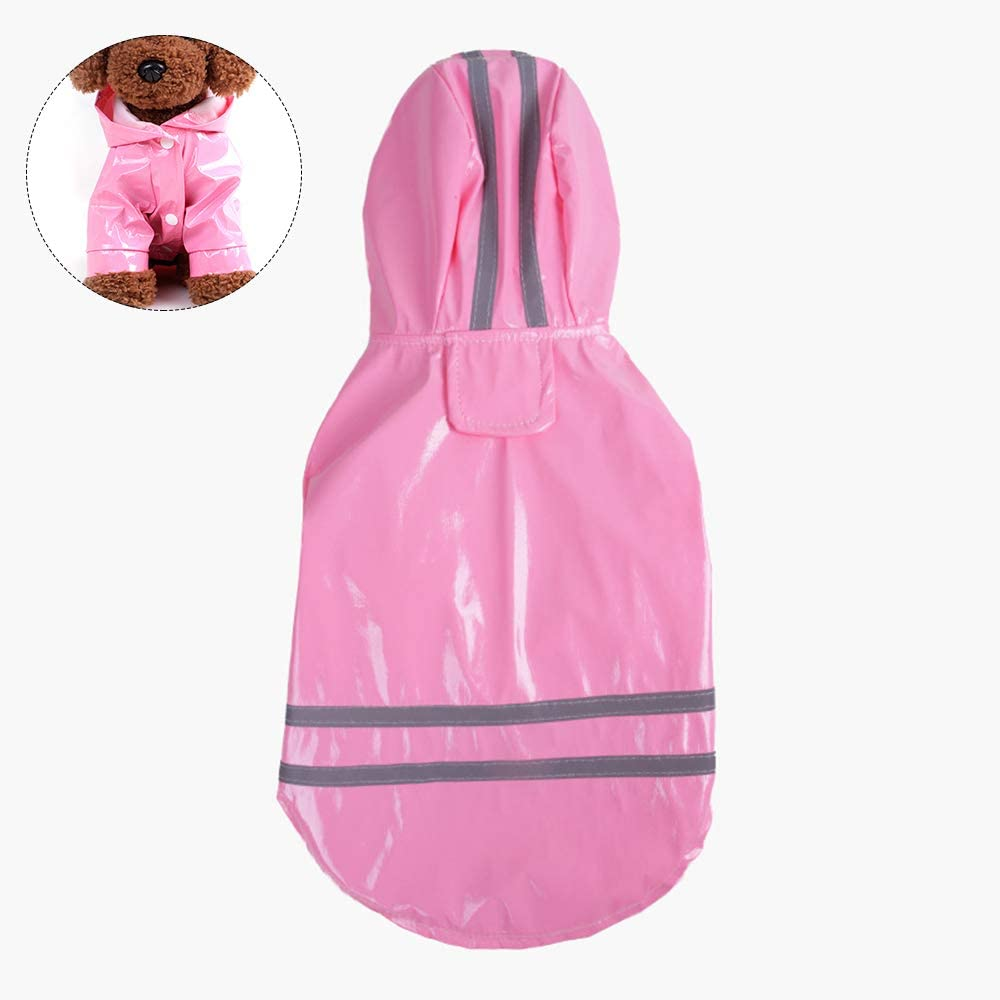 Dog Raincoat with Hood Lightweight Pet Waterproof Jacket PU Reflective Rain Coat with Safe Reflective Strips for Small Medium Pet S,Pink