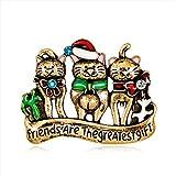 Cosanter Broche de Gato de navidad, Accesorios de Ropa Sombrero Suéter Bufanda Decoración Halloween Regalo (Dorado) 4,3 x 3,4 cm