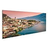 Bild Bilder auf Leinwand Panorama von Limone sul Garda,