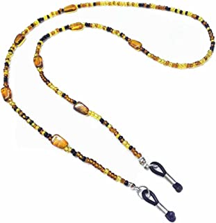 Amber Non-Slip Glasses Chain Decorative-Agate-Glass Stone Beaded Glasses Chain Neck Retainer Rope Holder for Women Best Gift (brown)