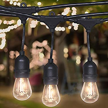 Best Choice Products 24ft Commercial Weatherproof Outdoor String Lights for Party, Restaurant, Patio Lights - Black