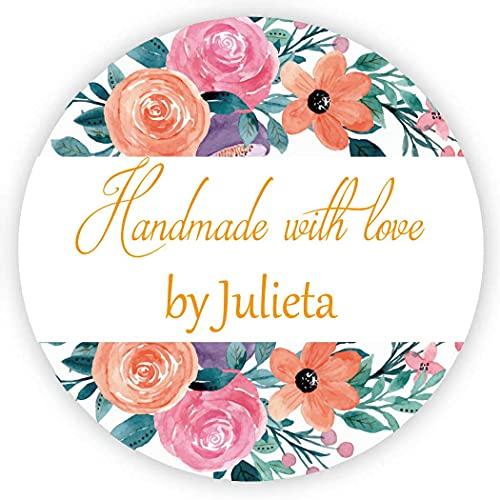 MameArt 50pcs 4cm Pegatinas Personalizadas Handmade with Love Nombre, Flores Hecho a...