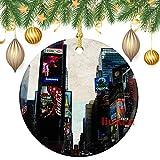 happygoluck1y - Adornos de cerámica de Chrismtas, adornos cuadrados de Times Square de doble cara, decoración de árbol de Navidad, recuerdo, para el hogar, niños, parejas nuevas, 3 pulgadas