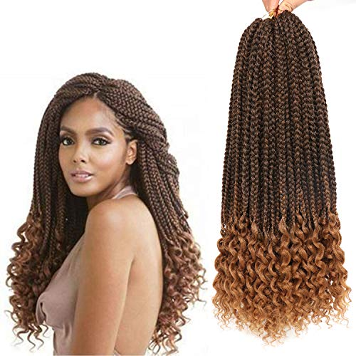 7 Packs 18 Inches Box Braids with Curly Ends Crochet Braids Hair Extensions Synthetic Box Braid Crochet Hair Loose Wavy Free Ends (T1B/27#)