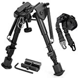 Gogoku Bipod & Sling Combo with Adapter Mount for 20mm Rail Hunting 6 to 9 Inches Bipod
