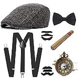 E EBETA 1920s Jahre Herren Accessoires Zubehör Set Flapper Mafia Gatsby Kostüm Set Inklusive...