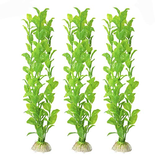 SunGrow Plastic Aquarium Plant Set, 10 Inches High, Vibrant Green, Life-Like Attractive Decor, No Maintenance, Artificial Plant Hide Tubes, for Experienced and Starter Aquarists, 3 Pieces