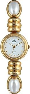 ساعة بيجو للنساء مطلي بالذهب 14 قيراط مع سوار أبيض لؤلؤي