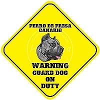 """Not Perro De Presa Canario Warning Guard Dog on Duty Hierro - Cartel decorativo para pared, diseño vintage con texto en inglés """"Not Perro De Presa Canario"""" (30 cm x 30 cm)"""