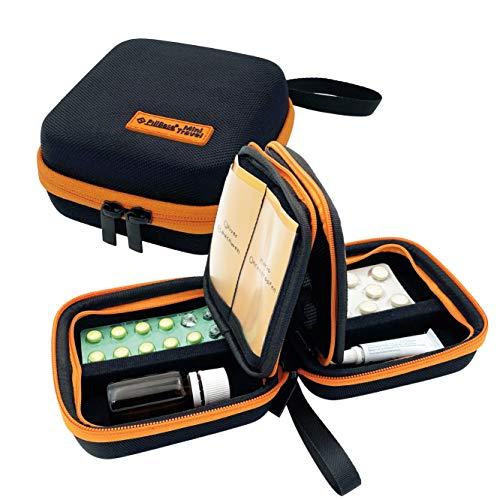 PILLBASE Mini Travel Reiseapotheke | Tabletten Aufbewahrung Reise | Pillen-Organizer | tragbar & mobil | Erste-Hilfe Tasche | Medizin Vitamine Pillen | Notfall Kit | Outdoor Sport