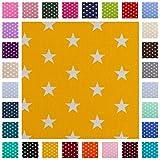Baumwollstoff Carrie, Sterne 1cm, weiß/gelb, STANDARD 100