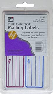 Charles Leonard Mailing Labels, Self-Adhesive, 2.5 x 4.5 Inches, Red and Blue, 25/Box (72525)