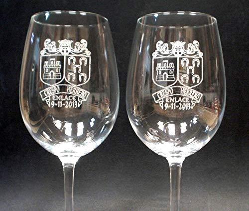 Arte-Deco Copas de Vino grabadas y Personalizadas con el Escudo HERÁLDICO de su Apellido. Un Regalo Elegante, Original y a la Vez Muy Atractivo y Duradero en el Tiempo.: Amazon.es: Hogar