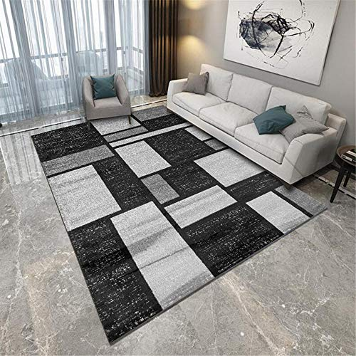 DJHWWD Kids Rugs For Playroom grey Carpet gray classic style square pattern soft carpet living room anti-skid Outside Rug 160X230CM Rugs Small 5ft 3''X7ft 6.6''
