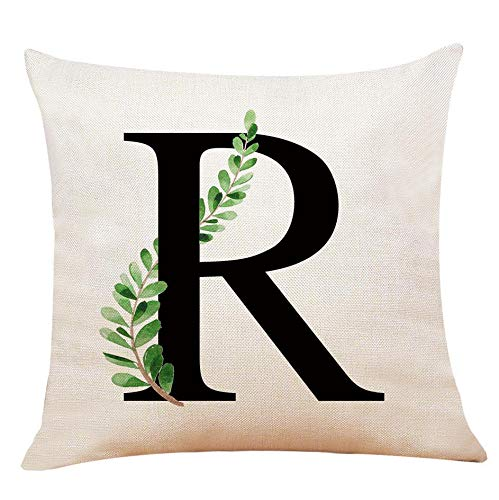 XUWELL English Alphabet R Throw Pillow Cover, Olive Branch Cotton Linen Cushion Case for Sofa Bed Home Decor 18 x 18 Inch