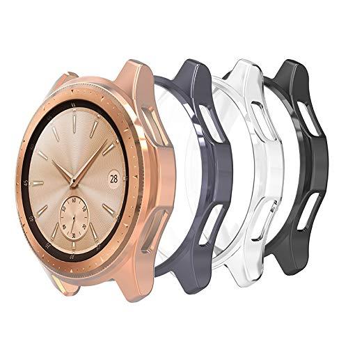 Hianjoo 4 Pack Custodia Compatibile per Samsung Galaxy Watch 42mm(Non per Watch 4 42mm), TPU Protezione Cover Compatibile per Samsung Galaxy Watch 42mm - Trasparente,Nero,Oro Rosa,Grigio Spazio
