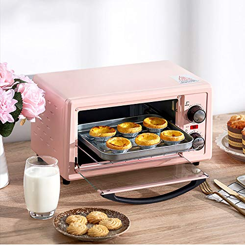 goldensnakes Minibackofen mit Innenbeleuchtung und Umluft,Mini Ofen Mit Kochplatte Mikrowelle,Ofen Mini Pizza,60 Minuten Zeitmessung, 250 ° C Weitbereichstemperaturregelung, Doppelrohrheizung,Pink