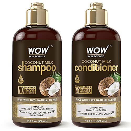 WOW Coconut Milk Shampoo and Conditioner Set, Slow Down Hair Loss, Essential Vitamins and Oils For Faster Hair Growth For Men and Women. Paraben, Salt, Sulfate Free, 2 x 16.9 Fl Oz 500mL