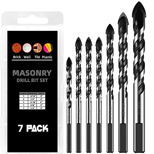 7 Piece Masonry Drill Bit Set for Tile Brick Cement Concrete Glass Plastic Cinder Block Wood [3/16,1/4,5/16,3/8,1/2 inch ] Chrome Plated with Industrial-Strength Carbide Bit with Storage Box