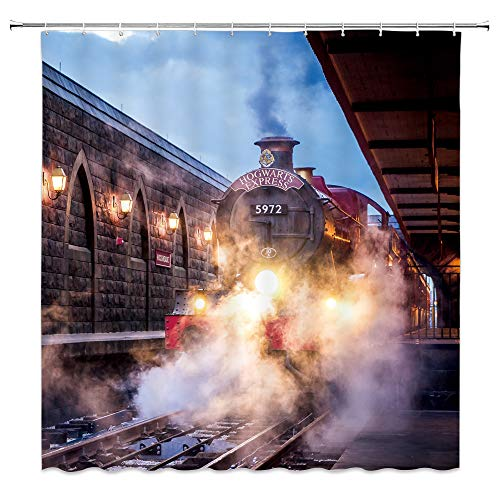 AMNYSF Steam Engine Shower Curtain Vintage Train Magic Platform Decor Fabric Bathroom Curtains,Waterproof Polyester with Hooks 70x70 Inch