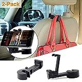 Jteman Car Headrest Hook Phone Holder with Universal Car Hook,2 in 1 Car Hook Mobile Phone Bracket for Hanging Bag, Purse,Cloth,Umbrella, Grocery - Set of 2 (Black)