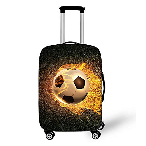 BBOOXX 3D Equipaje Fundas de Maleta Estuche Protector Personalidad Fútbol Impresión Modelo Niño Viajar Carretilla Guardapolvo B-M(22-24in)