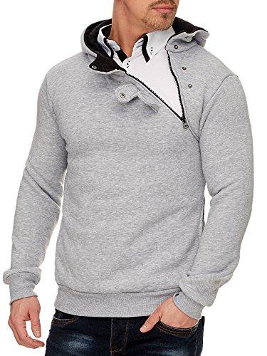 Tazzio Herren Styler Sweatshirt mit Kapuze Pullover Hoodie 16213 Grau M