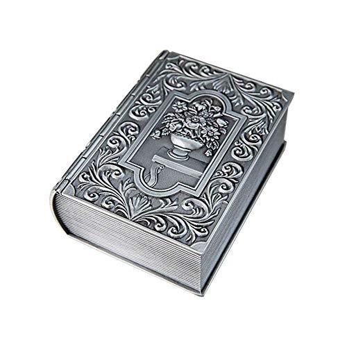 YLB Metal Europeo Creativo Retro Libro joyería joyería Exquisito clásicos hogar Escritorio joyería Caja Vintage Metal Caja de joyería (Color: Plata, tamaño: 12.5x9.5x4.7cm)