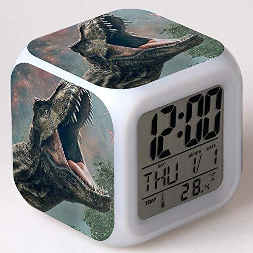 FCH-GY Jurassic World Alarm Clock Reloj Despertador Digital Jurassic Park Luces Coloridas Reloj Despertador de Humor Reloj Cuadrado Disponible Carga USB Adecuado para niños y niñas Niños s 02