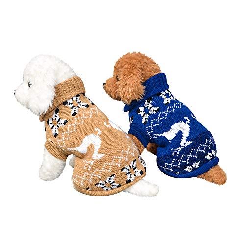 Fenverk_Haustier Hund Katze Winter Warm Rollkragen Sweatshirt Mantel KostüM Bekleidung Jacke Kleider Hoodies Jumper Zum HüNdchen Klein Mittel Groß Hunde Overall Kleidung(C-Beige,XL)