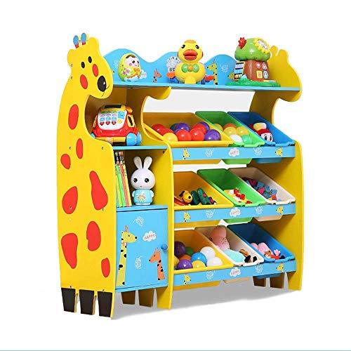 ShiSyan Librería Niños Fun Book Shelf Bookcasas Organizador de Juguete Libro de exhibición de Almacenamiento Rack para niños Dormitorio (Color: Azul, Tamaño: 114x30x110cm)