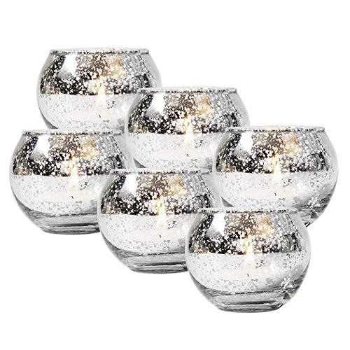 FunPa 6 Stucke Runde Quecksilber Glas Votiv Kerzenhalter Teelichthalter Für Hochzeitsdekor Und Home Decortion