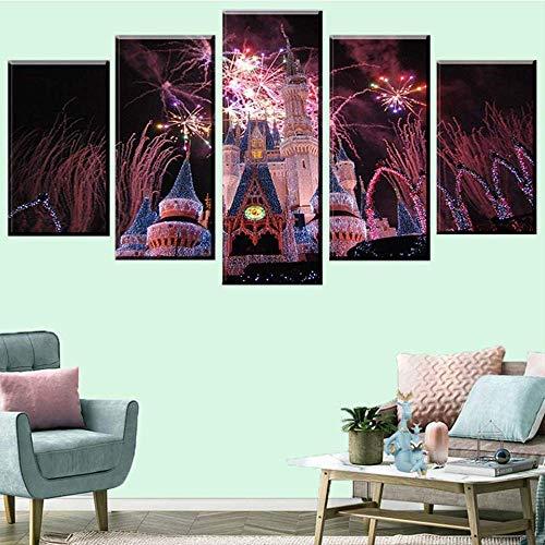 DGGDVP 5 Stück Disneyland Feuerwerk Wandkunst Leinwanddruck Moderne Wohnkultur Poster Kunst Familie Weihnachtsdekoration Gemälde Größe 1 ohne Rahmen