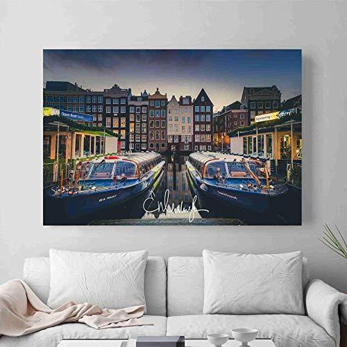 ganlanshu Amsterdam Paisaje Foto póster Pared Arte Lienzo,