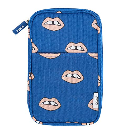Yoobi   Pencil Case with 2 Zippers for Organization   Navy Peach Lips