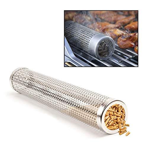 Smokerröhre Räucherröhre aus 304 Edelstahl - Kaltrauch-Zubehör für Gasgrill und Kohlegrill - Räucherbox, Pellet-Smoker