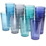 Cafe 20-ounce Break-Resistant Plastic Restaurant-Style Beverage Tumblers | Set of 16 in 4...