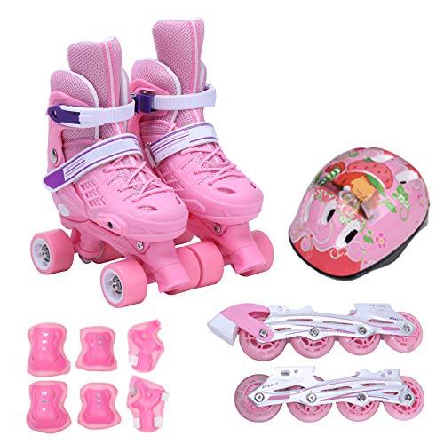 ZCRFY Rollschuhe Kinder mädchen Jungen Verstellbar Inline Skates Quad Roller für 6-12 Jahre Inliner Mit Schutzausrüstung Helm Set,Pink-M(31-34)