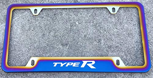Estodian Blue Burnt Rainbow Chameleon Colorful Type R Sport Car License Plate Tag Holder Frame for Civic Type R 304 Stainless Steel (1)