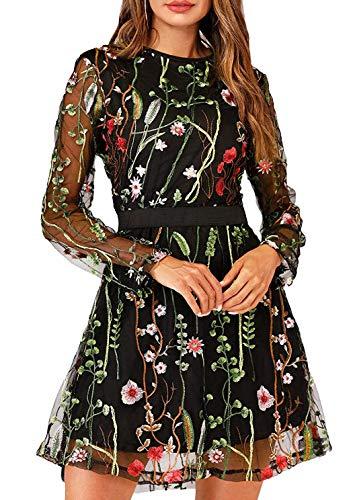 Metcuento Túnica feminina com bordado floral em volta do pescoço vestido de festa verão minivestido boêmio