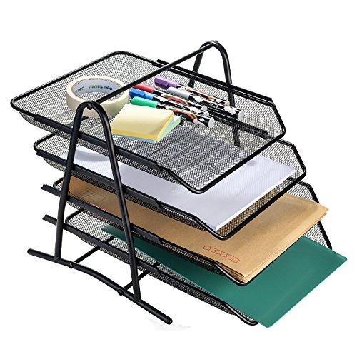 AGPtek 4 Schubfächer Briefablage Organizer, Metall Mesh, Schreibtisch Dokument Brief Ablage für Zuhause & Büro - Schwarz -
