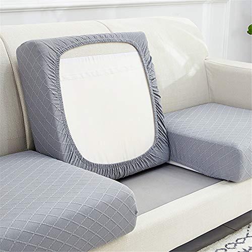 Funda de cojín elástica para sofá de color sólido, funda de sofá de cuatro estaciones universal, combinación individual y doble (gris plateado, 2)