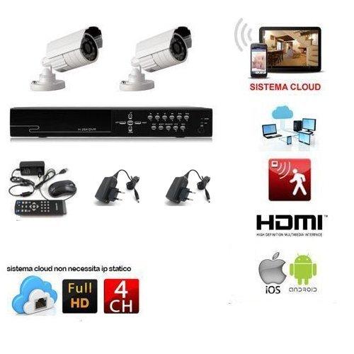 KIT VIDEOSORVEGLIANZA 2 TELECAMERE 1200 TVL LED INFRAROSSI + DVR 4 CANALI + ALIMENTATORI GESTIBILE DA REMOTO