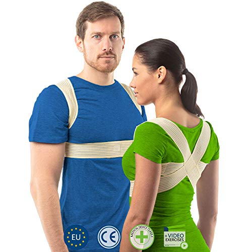 aHeal Corrector de Postura para Hombre y Mujer | Soporte para Corregir la Postura | Corsé Ortopédico para Escoliosis Cifosis | Alivio del Dolor de Espalda y Corrector de Mala Postura | Talla 1 Piel