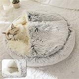Aujelly Cuccia per animali domestici – Rotondo morbido peluche con cappuccio, ciambella per cani e...