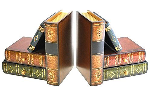 """Royal Brands Classic Wooden Book Bookends with Hidden Drawers - Book Stand - Set of 2 - Bookshelf Bookends - (6"""" x 4"""" x 6"""")"""