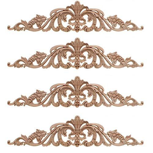 4 Piezas Aplique Decorativo En Madera Tallada, Incrustaciones De Madera Tallada Larga, Decoración Del Hogar Europeo