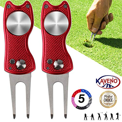 kaveno Golf Divot Repair Tool, Foldable Magnetic Pop-up Button Stainless Steel Switchblade & Detachable Golf Ball Marker (Red Fish 2 Sets)