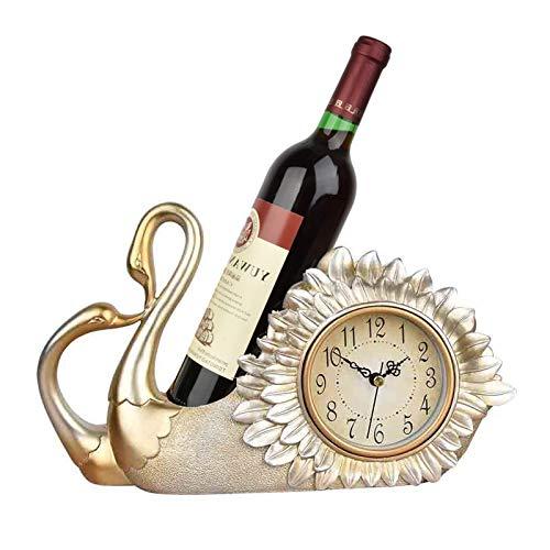 kerryshop Reloj Despertador El Reloj de la Mesa de Resina Multifuncional no es Solo una Estante de Vino, Sino también un Reloj de Mesa de decoración Creativa de Reloj de Mesa. Reloj de Escritorio